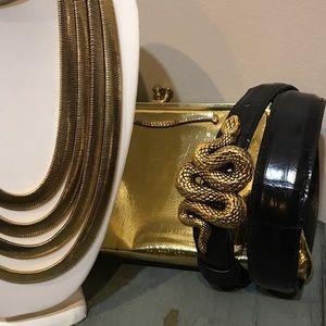 Vintage Accessories - VTG Vincenza Snake Buckle Leather Belt